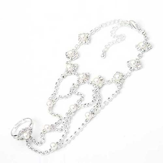 e946789f9 Silver Plated Crystal Rhinestone Pearl Beads Finger Ring Bracelet Chain L  Y6N5