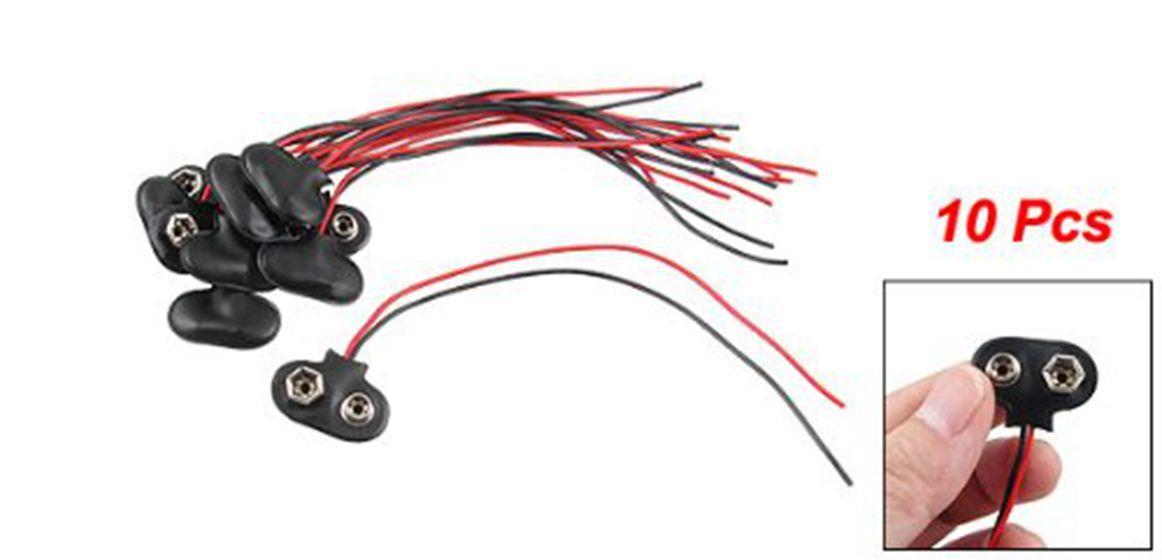 10 Stück schwarz Kunstlederhülle T Typ verdrahtet 9V Batterie C ...