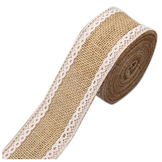2.5M Hemp Ribbon with Lace Trims Tape Rustic Wedding Decor G Y8C4 D6K4