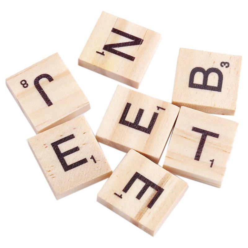 100x-Alfabeto-De-Madera-Azulejos-Letras-Y-NUMeros-Negros-Para-Scrabble-Nino-u2O miniatura 2