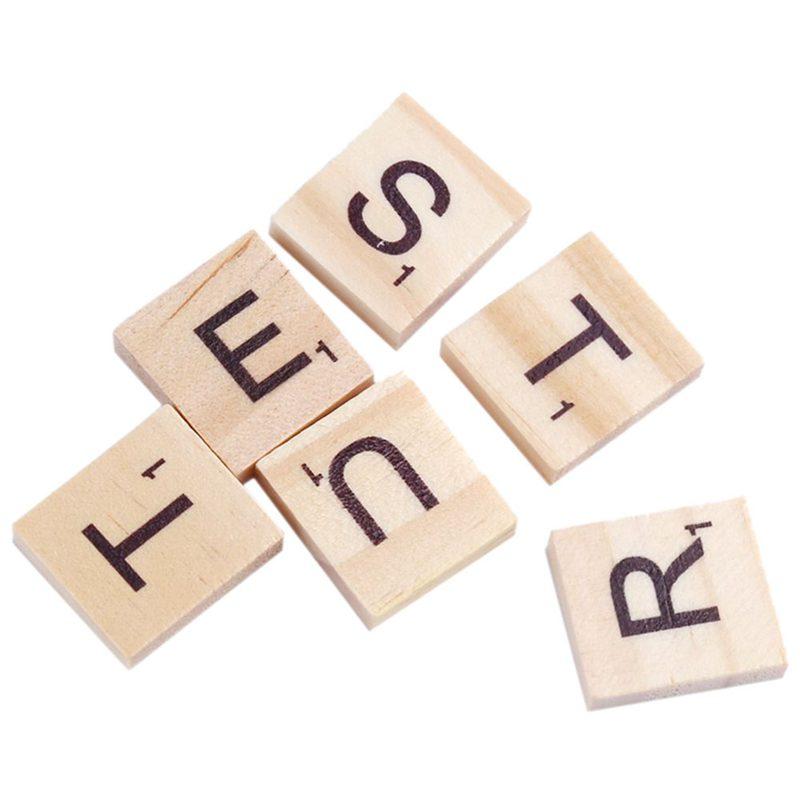 100x-Alfabeto-De-Madera-Azulejos-Letras-Y-NUMeros-Negros-Para-Scrabble-Nino-u2O miniatura 3
