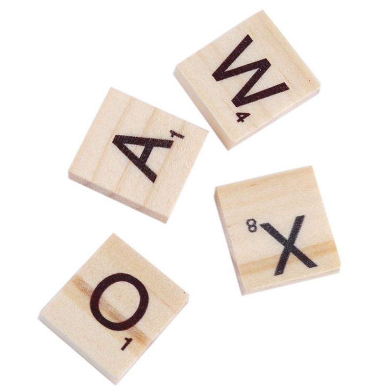100x-Alfabeto-De-Madera-Azulejos-Letras-Y-NUMeros-Negros-Para-Scrabble-Nino-u2O miniatura 5