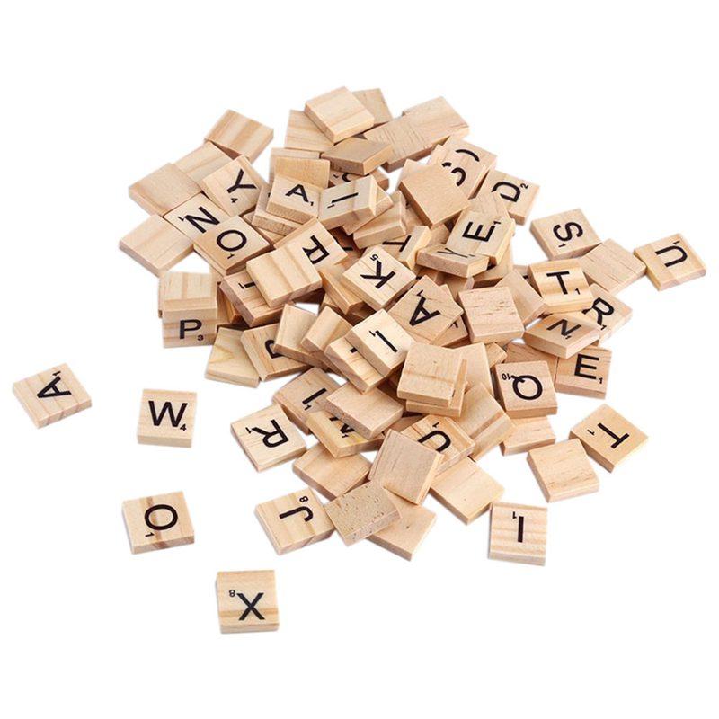 100x-Alfabeto-De-Madera-Azulejos-Letras-Y-NUMeros-Negros-Para-Scrabble-Nino-u2O