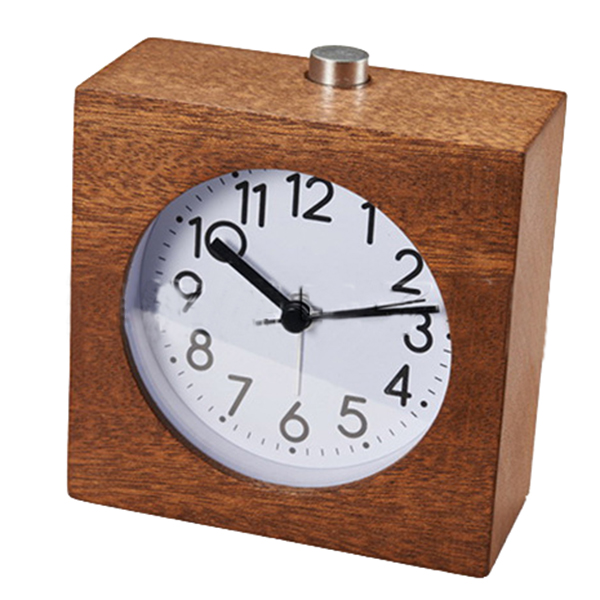 Classic Small Round Silent table Solid Wood Square pointer Alarm Clock, Lig X8V7