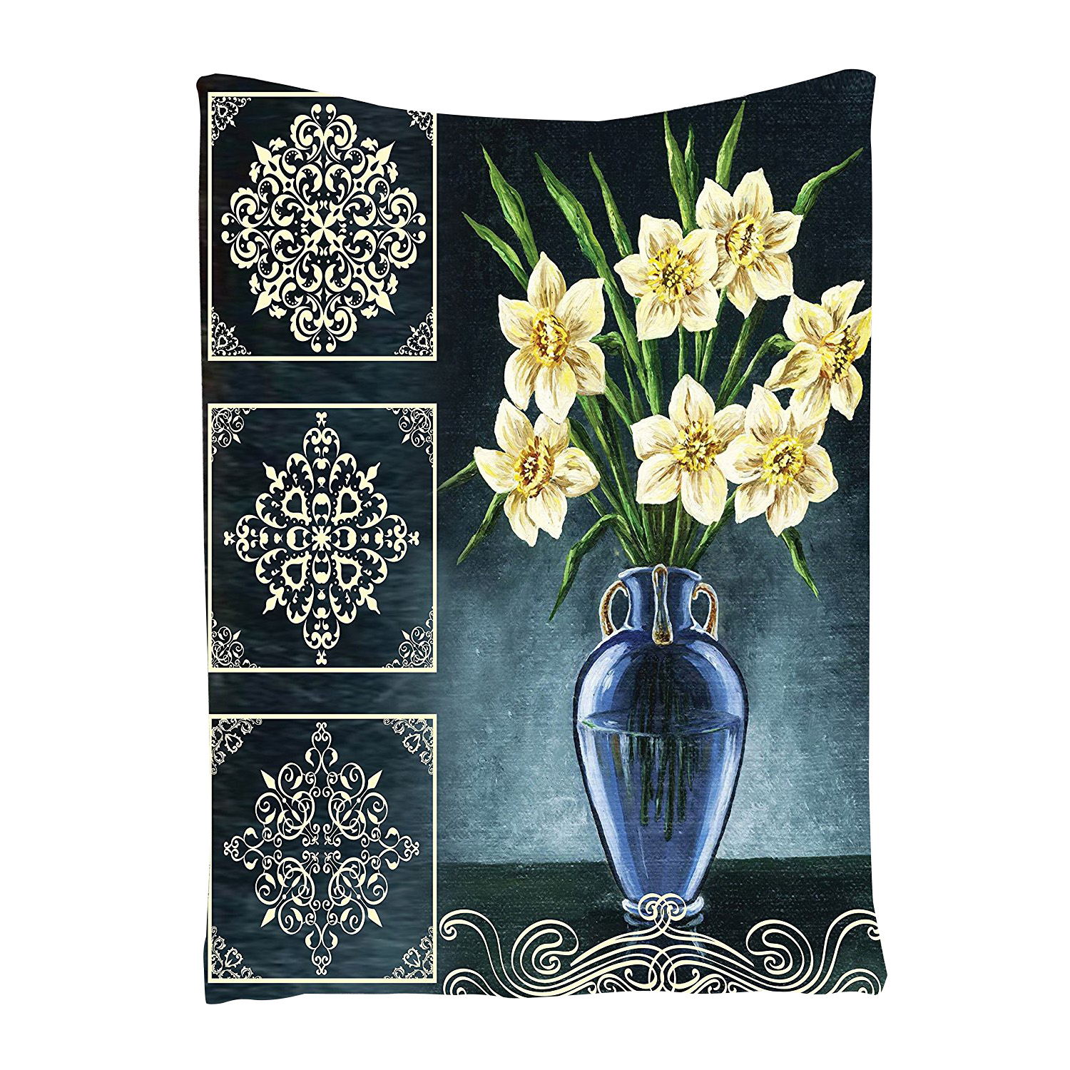 Daffodils Ceramic Pot Picture Art Ornaments Digital Printed Tapestry Natura O8U7