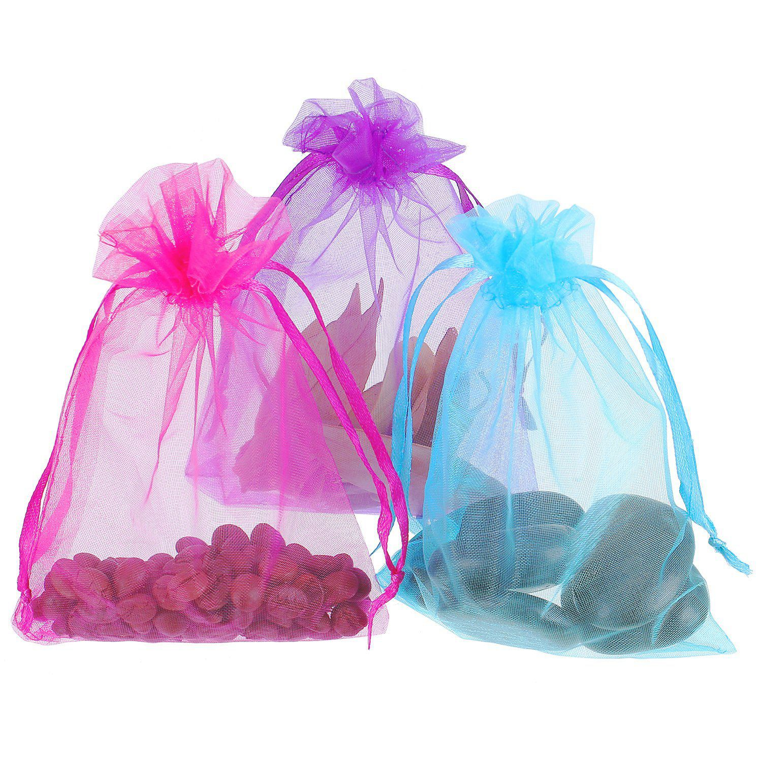 50x 4 by 6 Inch Organza Gift Bags Drawstring Jewelry Pouches Favor ...