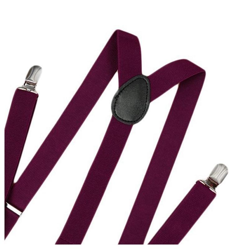 1X(Unisex Clip on Suspender Elastic Y-Shape Back Formal Adjustable Braces, W2G1