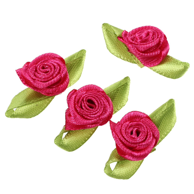 100pcs-Mini-Satin-Ribbon-Rose-Flower-Leaf-Wedding-Decor-Appliques-Sewing-DI-H6C1 thumbnail 3