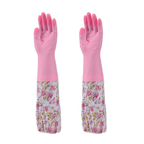 2x(long Sleeve Dishwashing Pvc Gloves Cleaning Household Pvc Gloves Keep Wa R3q6