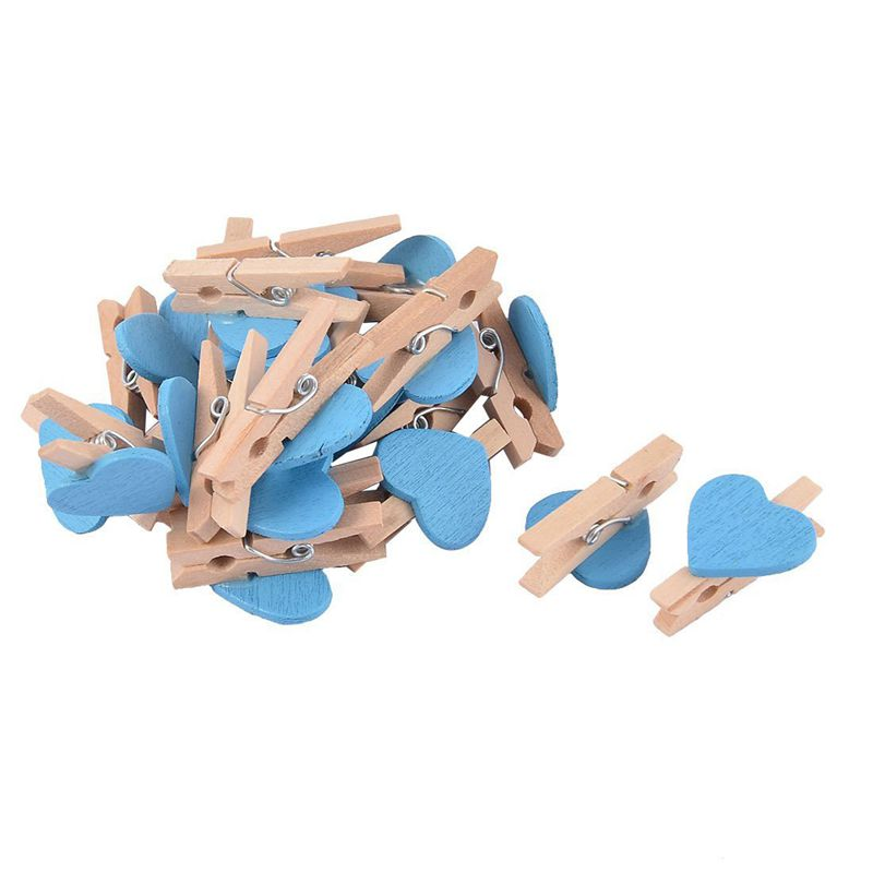 Love Heart Card Photo Clothespins Pegs Mini Wooden Clip 20pcs Blue R6X5