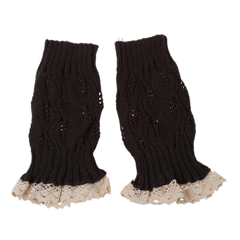 Damen Mode Haekeln Strickte Spitze Ordnungs Stiefel Stulpen Bein