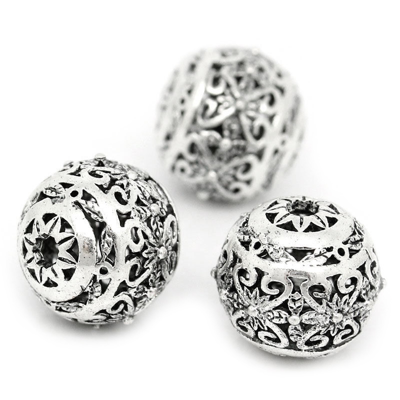 10PCs-Hollow-Flower-Spacer-Beads-Round-Ancient-silver-11mm-x-10mm-U5X4