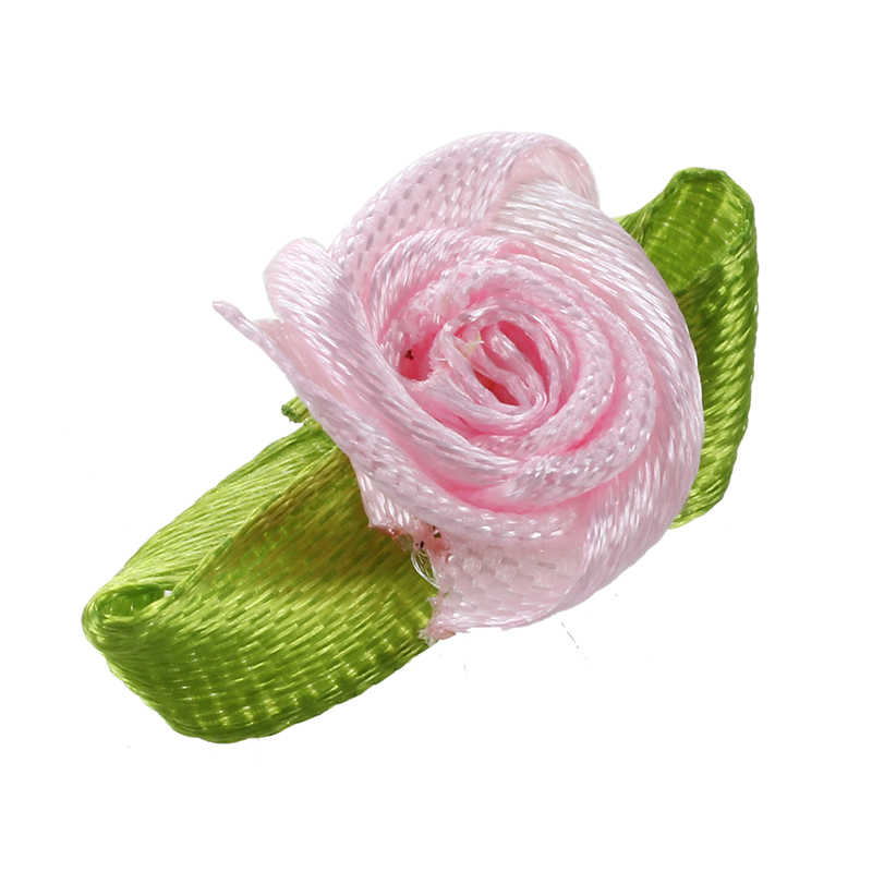 100Pcs-Mini-Satinband-Rose-Flower-Leaf-Hochzeit-Dekor-Applikationen-Naehen-Di-1M7 Indexbild 3