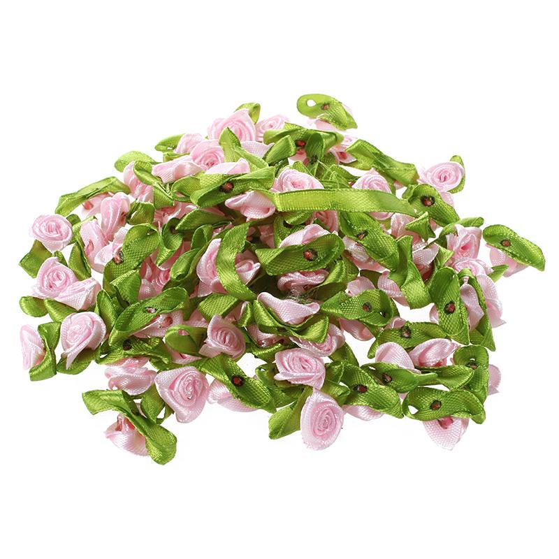 100Pcs-Mini-Satinband-Rose-Flower-Leaf-Hochzeit-Dekor-Applikationen-Naehen-Di-1M7 Indexbild 4