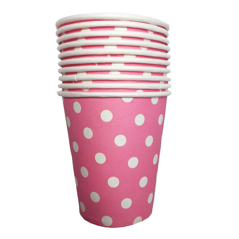 10pcs Polka Dots Paper Tableware Cups Birthday Party Wedding Events Drinking Gl