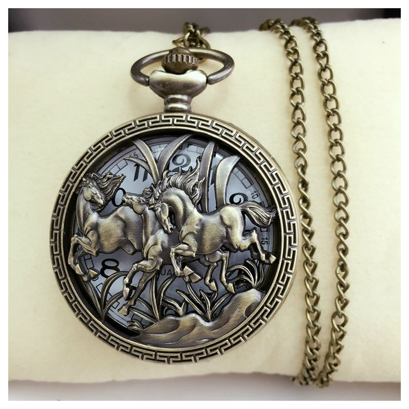 5X-Vintage-Hollow-Three-Horse-Quartz-Pocket-Watch-Necklace-Chain-Pendant-W1L1