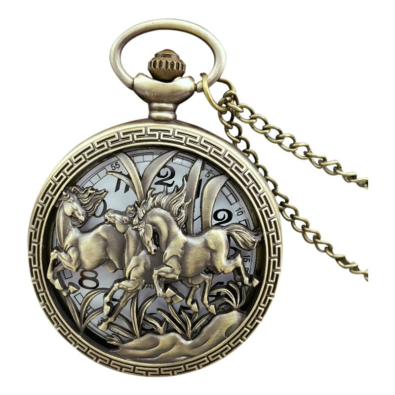 Vintage Hollow Three Horse Quartz Pocket Watch Necklace Chain Pendant G5Y7