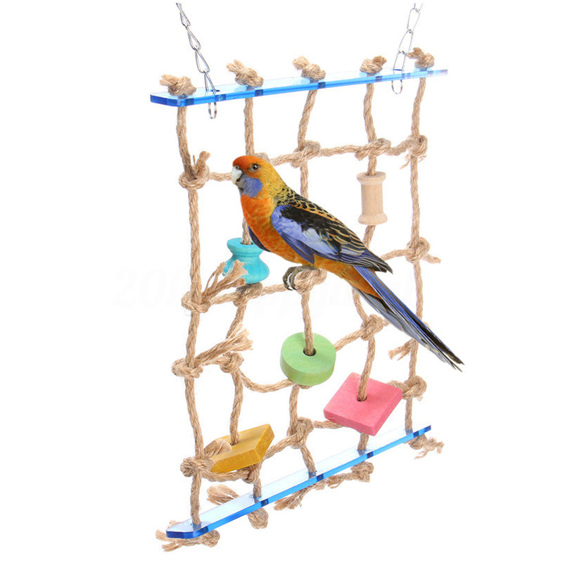 New Parrot Birds Climbing Net Jungle Rope Animals Toy Swing Ladder Chew Bathroom Hardware Home Improvement