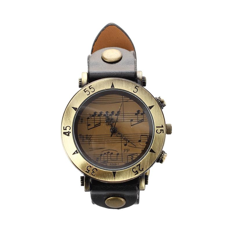 f53a7df4c92d La imagen se está cargando Reloj-Analogico-Cuarzo-Vintage-Pulsera -Correa-PU-Negro-