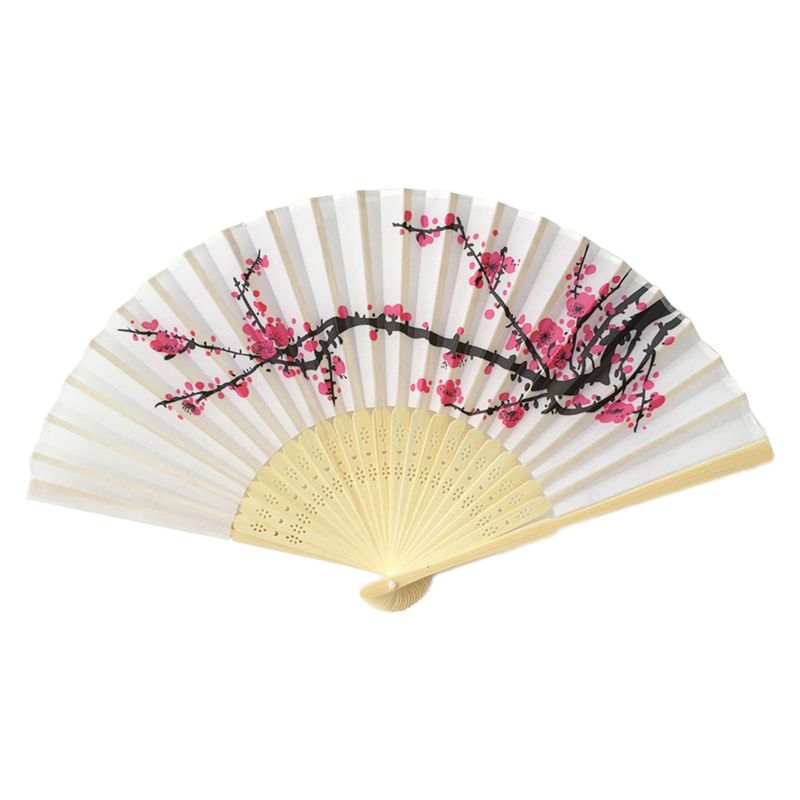 5-Pack-8-inch-Long-Plum-blossom-Blossom-Floral-Imprint-Folding-Hand-Fan-Weddi-SF