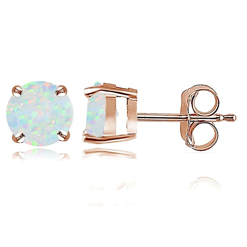 Rose Gold Opal 6mm Round Stud Earrings M2X4