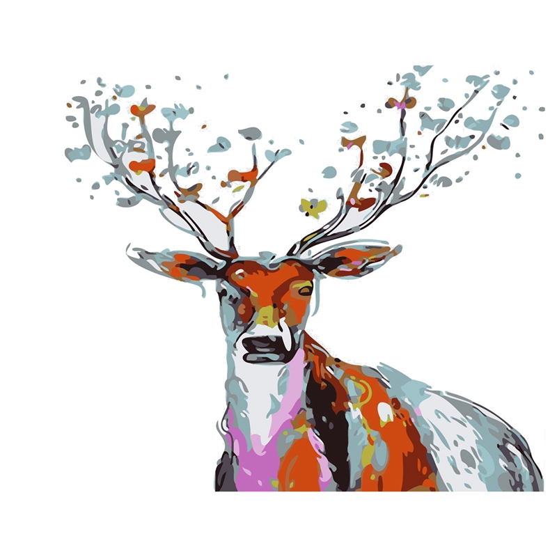 5X-Diy-Oil-Painting-Paint-By-Number-Hand-Paintworks-Deer-16X20-Inches-Sika-B0A6
