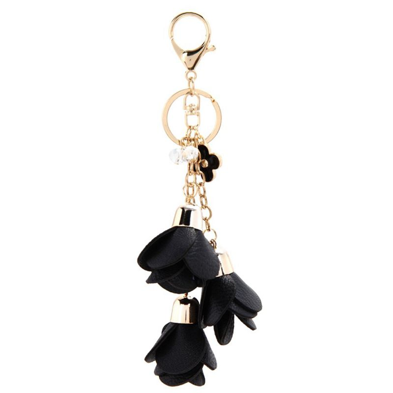 PU-Rose-Flower-Tassel-Keychain-Keyring-Charm-Handbag-Purse-Pendant-black-H3U5