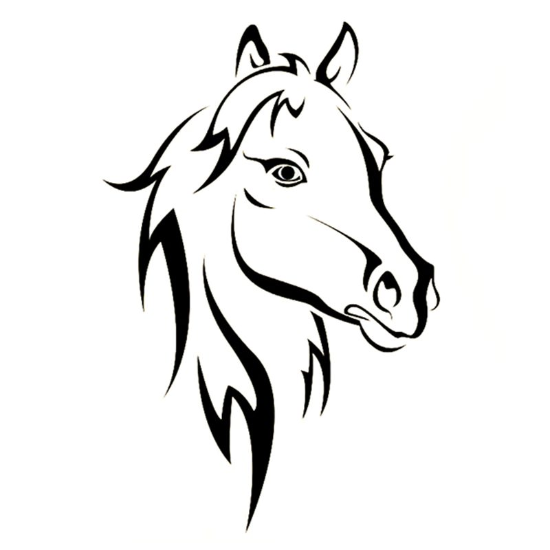 Large Horse Head Riding Wall Art Sticker 56cm (w) x 88cm (h) KR21 black R8K8
