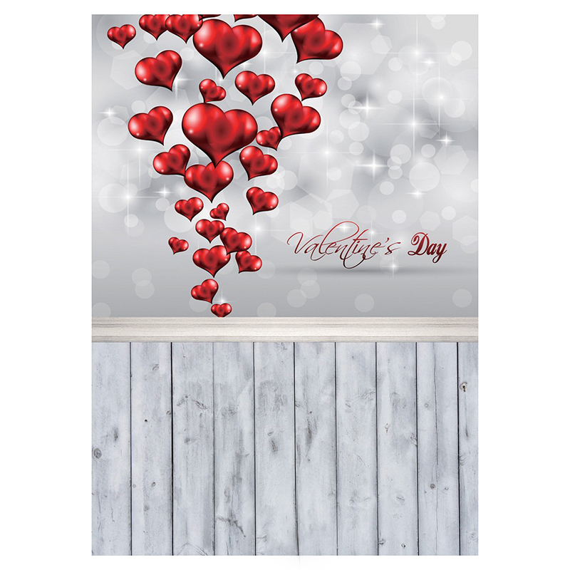 3x5ft Valentine's Day Wood Floor Photography Backdrop Shining Heart Love No A4D5