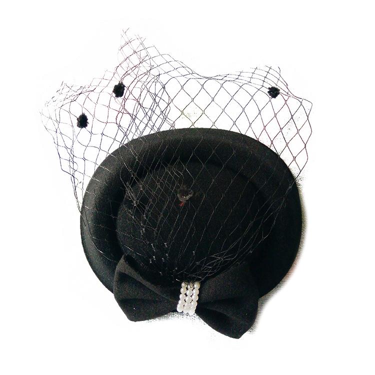 Races. Black Flower Poker Dot Net Pillbox Hat Base Hair Clip Fascinator Wedding