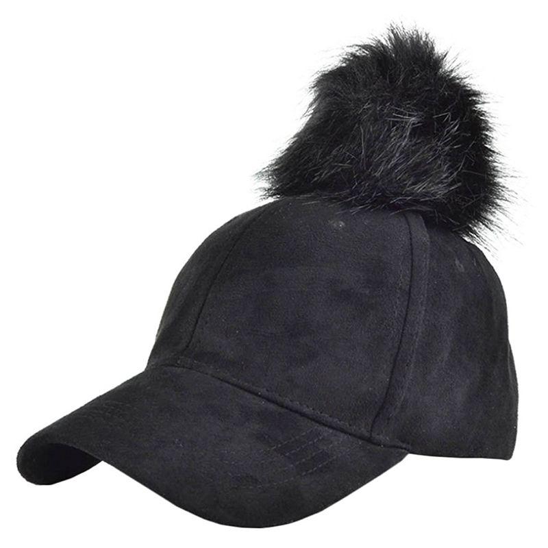 6482608f662 Women Pompom Ball Faux Suede Adjustable Baseball Cap Hip-hop Hat M1q5 Black  One Size