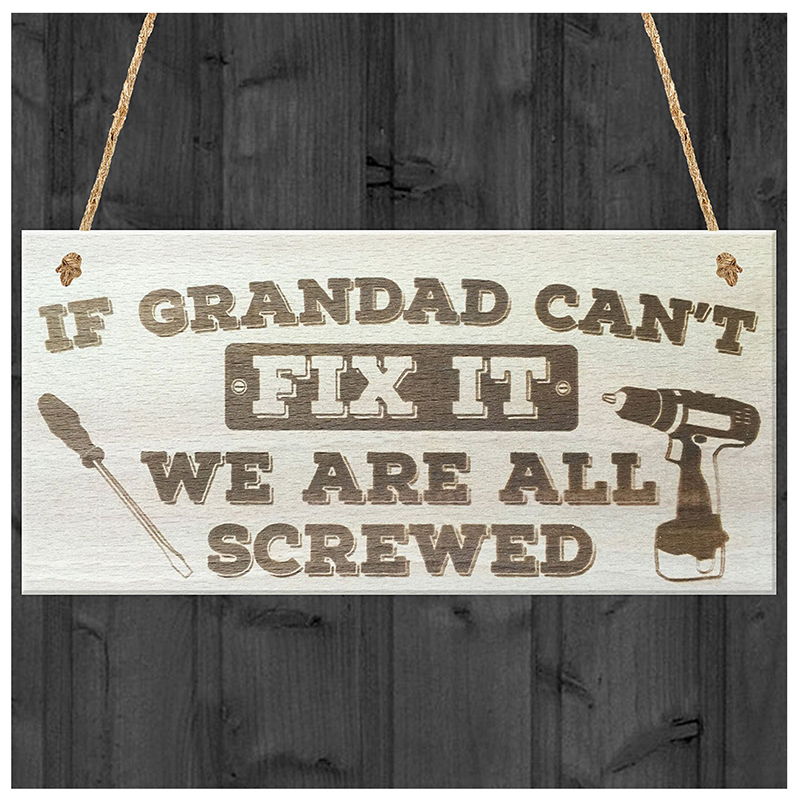 3X-Grandad-Can-039-t-Fix-It-We-Are-All-Screwed-Wooden-Hanging-Plaque-Fathers-Da-R8G5