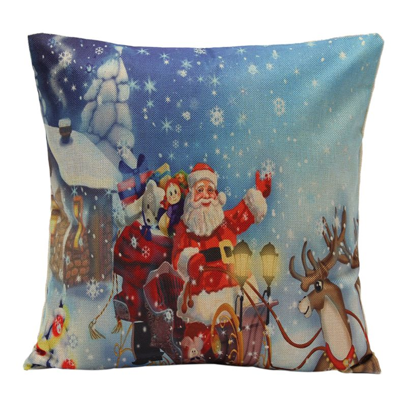 Christmas Xmas Santa Claus Cushion Cover Pillow Case Square Car Home Decor B9K8)