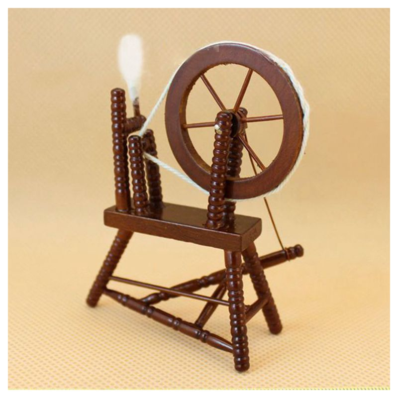 1-12-scale-doll-house-miniature-hand-reeling-machine-wooden-spinning-wheel-K8Z9 thumbnail 3