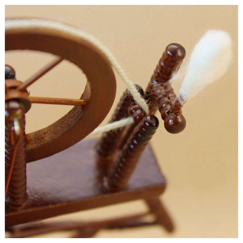 1-12-scale-doll-house-miniature-hand-reeling-machine-wooden-spinning-wheel-K8Z9 thumbnail 4