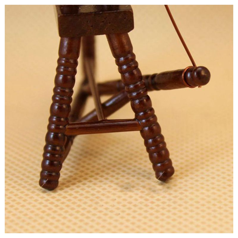 1-12-scale-doll-house-miniature-hand-reeling-machine-wooden-spinning-wheel-K8Z9 thumbnail 5