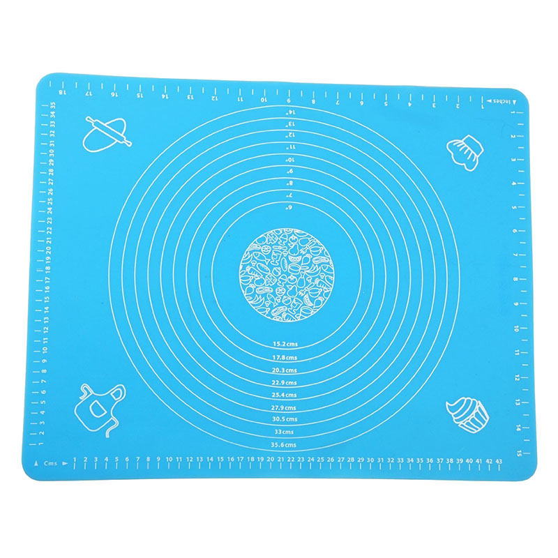 Pastry Fondant Silica gel Work Rolling Baking Mat with Measurements BLUE A4N2