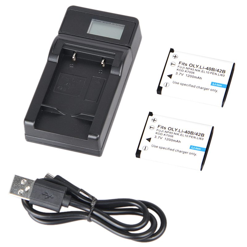 For Olympus Li-40B / EN-EL10 3.7V 1200mAh Battery 2 + LCD Display USB Charg X5D6