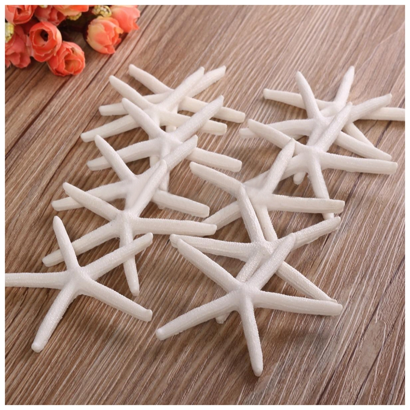 12pcs 10-12cm Beautiful White Finger Starfish Beach Wedding House Crafts DecL5L6