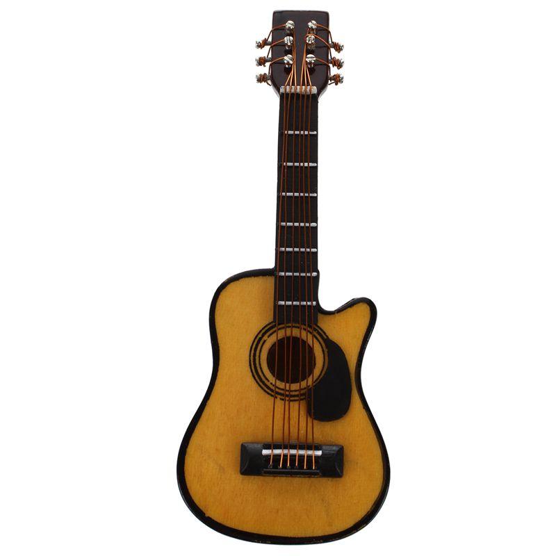 2X-1-12-Dollhouse-Miniature-Music-Instrument-Acoustic-Guitar-Yellow-and-Bro-L7B7 thumbnail 2