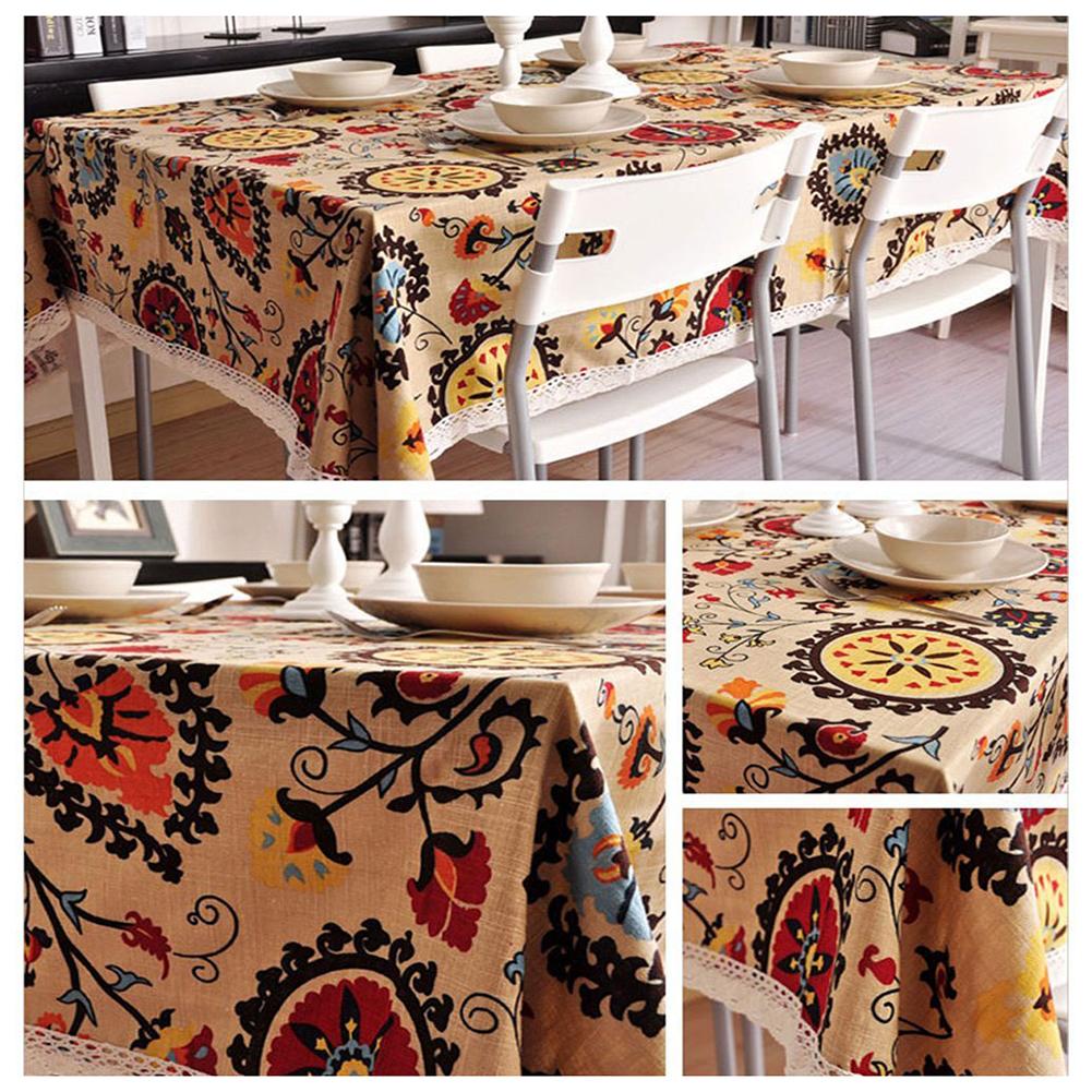 Vintage Square Cotton Linen Lace Sun Flower Tablecloth, Washable Tablecloth  U7C2