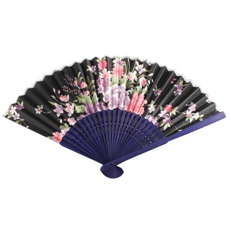 Navy Blue Bamboo Ribs Flower Pattern Folding Hand Dancing Fan L3S6