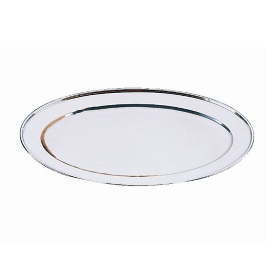Oval Serving Tray 30cm Stainless Steel Platter,silver H8Q3