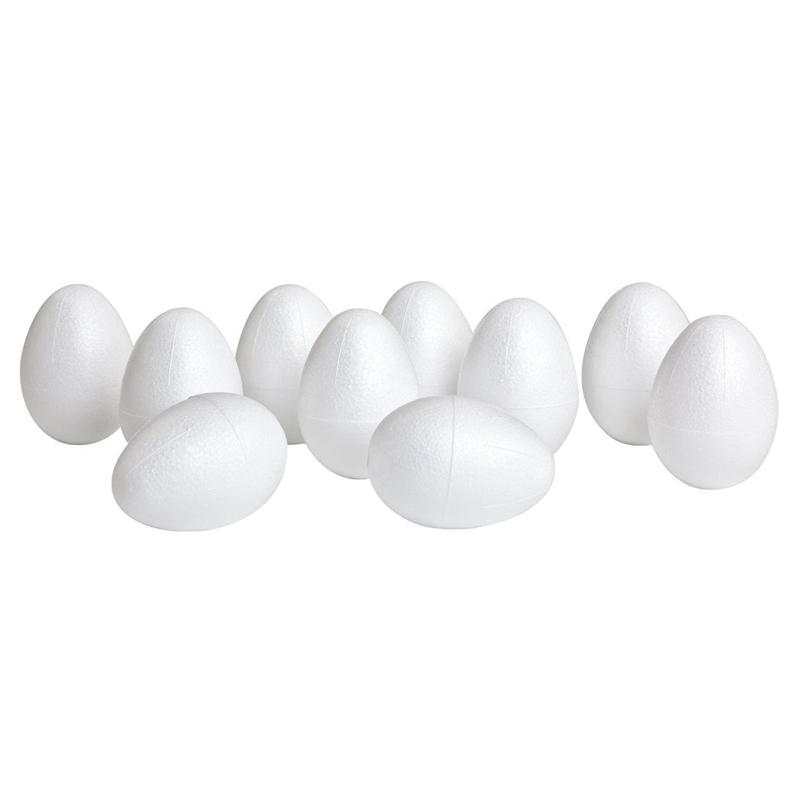 SODIAL 10 Uova di Polistirolo 6 Cm di Uovo Decorativo di Uova di Pasqua Bianche per Dipingere O Incollare