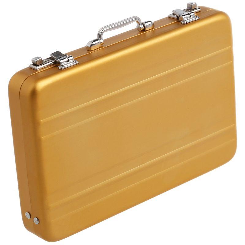 Aluminum-password-box-Card-Case-Mini-suitcase-Password-briefcase-Gold-G7T7 thumbnail 4