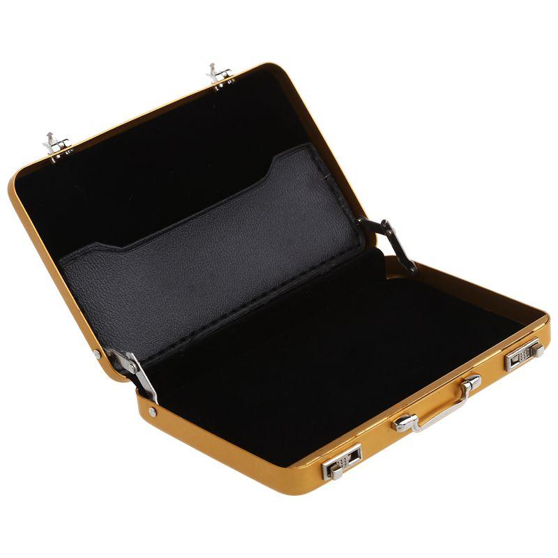 Aluminum-password-box-Card-Case-Mini-suitcase-Password-briefcase-Gold-G7T7 thumbnail 5