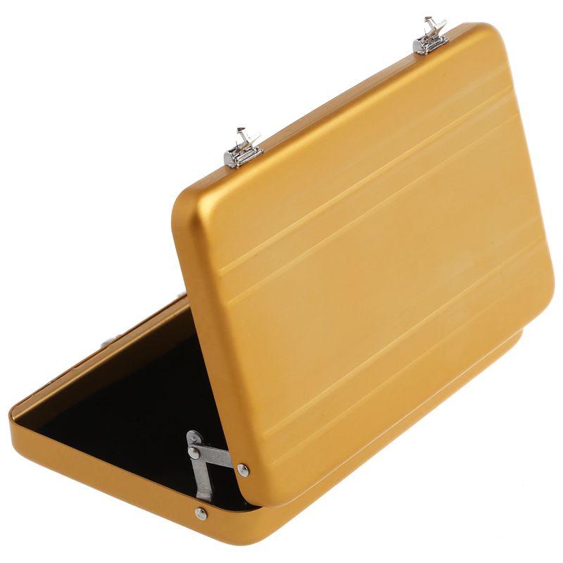 Aluminum-password-box-Card-Case-Mini-suitcase-Password-briefcase-Gold-G7T7 thumbnail 6