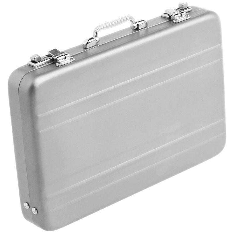 Password briefcase SODIAL Aluminum password box Card Case Mini suitcase Password briefcase Silver R
