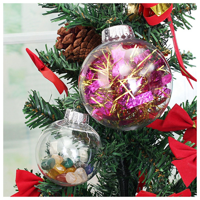Clear Diy Baubles Shatterproof Seamless Plastic Xmas Ball
