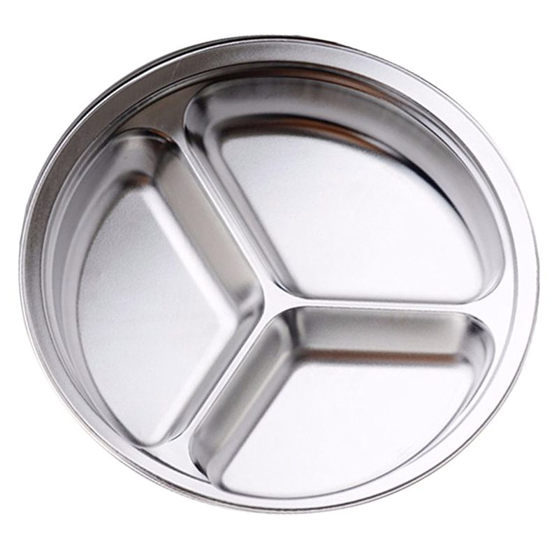 stainless steel 3 sections round divided dish snack dinner plate diameter 2 e1v7 ebay. Black Bedroom Furniture Sets. Home Design Ideas